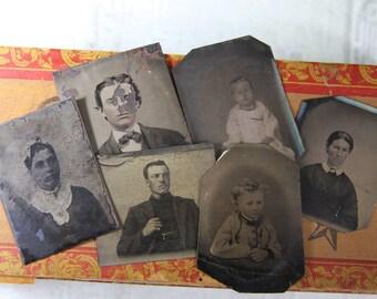 Victorian TINTYPES Ladies Men Children Early Photography- Antique Photo Melainotype Ferrotype-  Small Portraits- C11