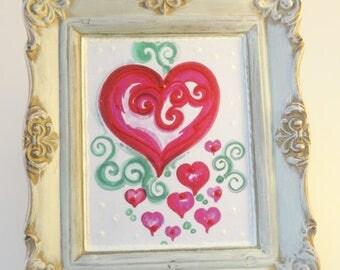 Heart art, sweetheart art, mixed media art, upcycled art, Original art, OOAK original art, Mini Painting,  repurposed  Vintage Frame