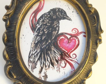 Crow art, Crow print, Black crow, crow with heart, upcycled art, raven, black crow, marias ideas art,   Vintage Frame