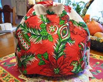 Cozy Red CHRISTMAS TEAPOT COSY Green Pine Bough Red Poinsettia Holly Ornament Bells, Washable Vintage Soft Flannel Lined 9 x 13 Holiday Gift