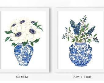 Hamptons Style Art Blue White Art: Anemone, Privet Berry Poster PRINTABLE FILE, chinoiserie art, blue white vase, wall art decor, home art