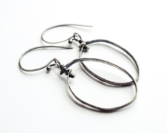 Earrings Sterling Silver Oval Metalsmith Jewelry
