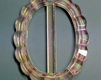Vintage 1950s oval faceted shimmering aurore borealis plastic buckle for your sewing prodjects