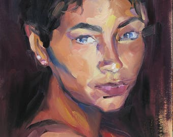 expressive impressionist portrait of beautiful woman titled She 3 - alla prima oil painting -  figurative oil painting