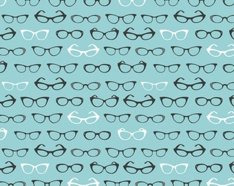 Retro Cats Eye Glasses Fabric - Specs By Cynthiafrenette - Blue Retro Mod Fashion Novelty Cotton Fabric By The Yard With Spoonflower