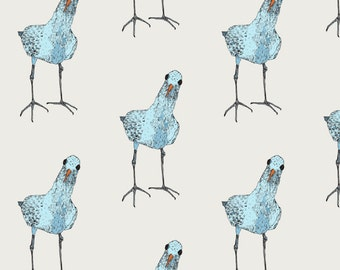 Curious Bird Fabric - One Blue Bird By Lorose - Blue Beach Bird Cotton Fabric By The Yard With Spoonflower