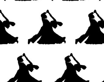 Ballroom Dancing Fabric - Ballroom Dancers By Thin Line Textiles - Ballroom Dancing Cotton Fabric By The Yard With Spoonflower