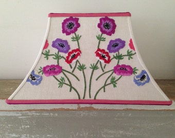 """Floral  Rectangle Lamp Shade, Vintage Embroidery Lampshade in Purple, Red, Magenta Lampshade 7""""t x 14""""b x 9"""" high, Think Spring!"""