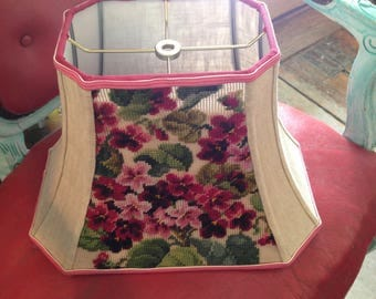 """African Violet Lamp Shade Vintage Needlepoint Rectangle 7.5""""t x 14""""b x 10.5""""h, Rich Raspberry, Pink and Green, Oatmeal Linen w/ stripe trim"""
