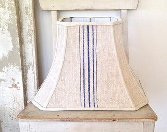 "Blue Rectangle Lampshade, Stripe Lamp Shade, Table or Floor Lampshade 8'top x 16"" b x 12"" high, Vintage Grain Sack, Farmhouse Style"