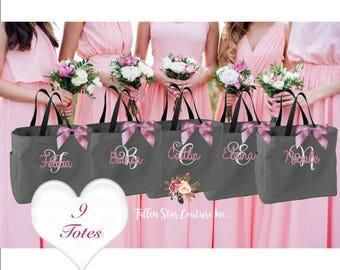 9 wedding party tote bags, bridesmaid wedding gifts , wedding tote bag, personalized wedding bag, bridesmaid tote bag, bridal party tote bag
