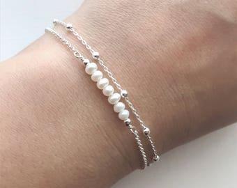 Pearl Bracelet, Sterling Silver Bracelet, Satellite chain and pearl bracelet