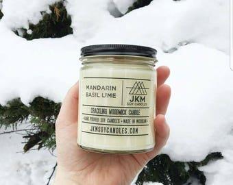 Mandarin Basil Lime woodwick candle