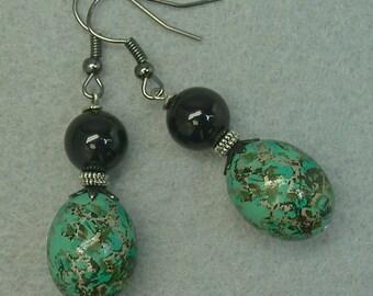 Vintage Japanese Turquoise Tensha Dangle Drop Bead Earrings ,Vintage Black Onyx Beads - GIFT WRAPPED