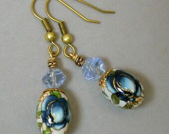 Vintage Japanese Tensha Bead Cobalt Blue Rose White Dangle Drop Earrings, Vintage 1950s German Sapphire Blue Pinched Glass Beads