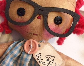 I love dogs Annie - Raggedy Annie - Raggedy Ann - Dog - dog lover - Ragdolls - primitive doll - Doll -