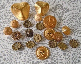 21 Vintage Gold Metal Plastic Sewing Buttons Clothing Buttons Shank Buttons Boat Anchor Designs