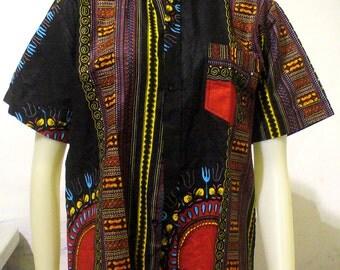 Tribal Print Button Up T-Shirt