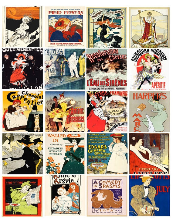 vintage ads french deco advertisements posters 2 inch squares clip art digital collage sheet download graphics images