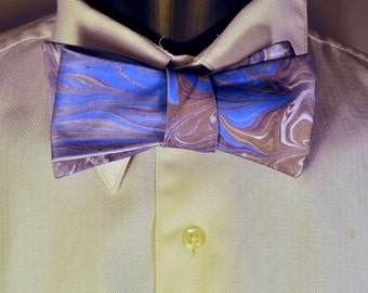 Asymmetrical Bow Ties for Men for Weddings with Cerulean Blue and Brown marbled Paint Made in Asheville, NC MM-#15-32