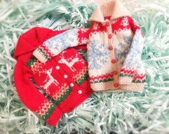 jiajiadoll-hand knitting- snowflakes and red deer sweater fits Momoko Or Blythe Or Misaki