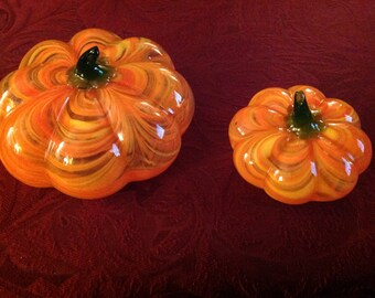 2--Older--Hand Blown--Glass--Pumpkins--Verigated Coloring--Art Glass