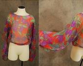3 Day SALE vintage 70s Blouse - 1970s Boho Huge Balloon Sleeve Blouse Sheer Tropical Shirt Sz S M