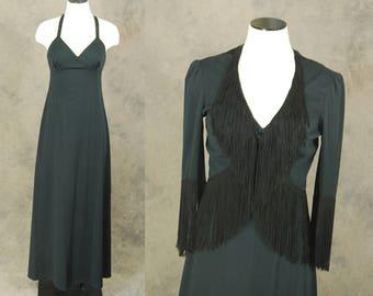 vintage 70s Maxi Dress and Fringe Jacket - 1970s Minimalist Black Dress Cropped Bolero Jacket Set Sz S
