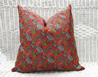 Red Bohemian Pillows, Silky Red Paisley Pillow, Red Blue Purple Pillows, Red Retro Pillows, Vintage, 70 Style, Bohemian Decor, 20x20