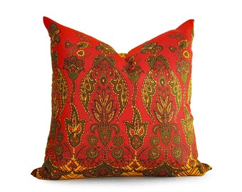 Red Yellow Bohemian Pillow Covers, Indian Pillows, Yellow Red Sari Pillow, Bright Boho Floor Cushions, Choose ONE / 3 Styles, 18, 20