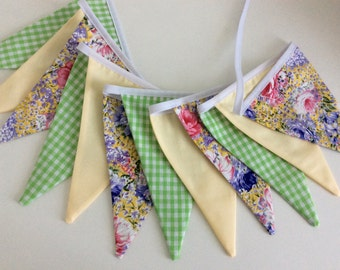 Spring bunting - 12 flags, in Leon, yellow and green tones, Shabby Chic floral fabrics, Fabric Garland, Wedding Bunting, Girl's Bedroom