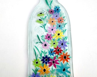 Melted Wine Bottle Serving Tray, Cheese Tray,  Spoon Rest, Kitchen Trivet,  Clear Wine Bottle Hand Painted with Colorful Flowers
