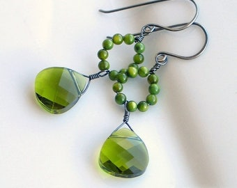 Save 20% Moss Green Dangle Earrings, Olivine Swarovski Crystals, Original Green Earrings, Mother of Pearl Hoop Earrings, Artisan Made Nature