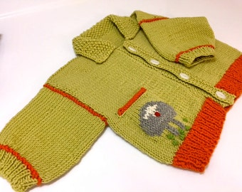 Baby Cardigan/Hand Knit Wool/Hand Knit/Sheep Baby Cardigan/3-18mos/Knitted Baby Cardigan/Sheep Cardigan/Hand Knit/Baby Knit