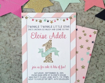 INSTANT DOWNLOAD Pink and Gold Twinkle Twinkle Little Star 1st Birthday Invitations