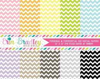 50% OFF SALE Digital Scrapbook Papers Personal and Commercial Use Chevron Stripes