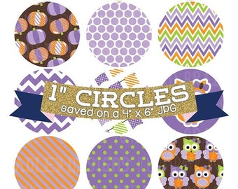"50% OFF SALE Digital Collage Sheet 1"" Digital Bottlecap Images Pumpkin Owls Purple Personal & Commercial Use One Inch Circles"