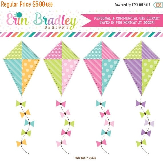 70% OFF SALE Kite Clipart Commercial Use Clip Art Graphics Instant Download