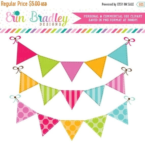 70% OFF SALE Colorful Bunting Clipart Clip Art Banner Flags for Personal & Commercial Use