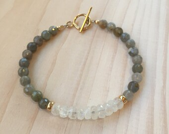 Faceted Labradorite and Moonstone Bracelet