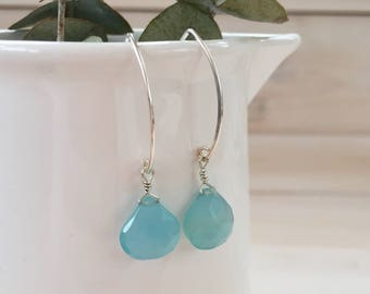 Aqua Blue Chalcedony Teardrop Earrings in Sterling Silver