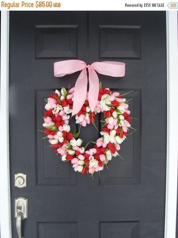 SPRING WREATH SALE Valentine's Day Wreath Red Tulip Valentines Day Decor Red Hearth Wreath Wedding Decor Spring Wreath I Love You