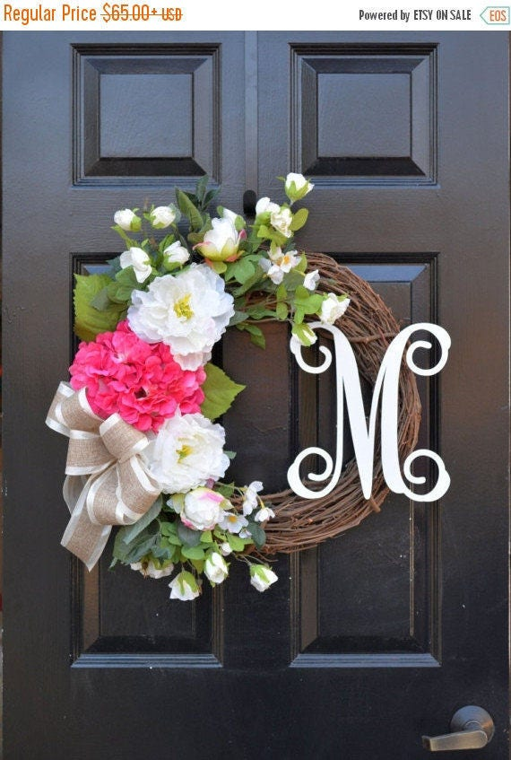SPRING WREATH Sale Monogram Peony Spring Wreath-Spring Peony Wreath-OOAK Monogram Door Wreath-Ready to Ship-Mother's Day Gift-Wedding