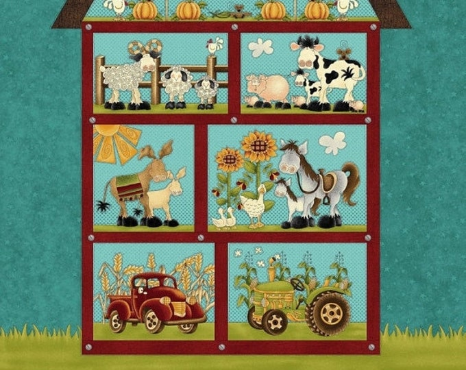 Farm Fabric Panel, McAnderson Farm Cotton Fabric 24 x44  by Leanne Anderson for Henry Glass