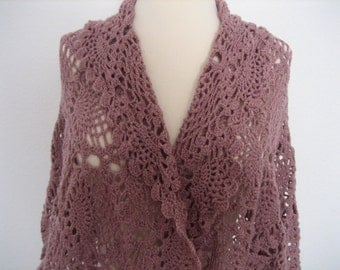 ANTIQUE PINK crochet shawl,  soft, superb quality work, lacy,pineapple, triangle, beautiful, ready