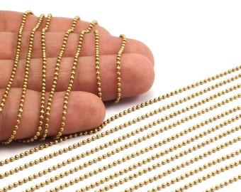 1.5mm Ball Chain, 10 Meters - 16.5 Feet  (1.5mm) Raw Brass Ball Chain - Brs 3 ( Z019 )