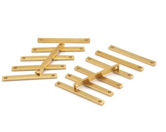 Brass Flat Connector, 50 Raw Brass Bars With 2 Holes (20x2x0.80mm) Bs 1190--a0861