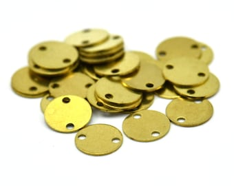 Brass Round Tag, 100 Raw Brass Round Tags, With 2 Holes Connectors, Stamping Tag (8mm) Sb 75 A0253