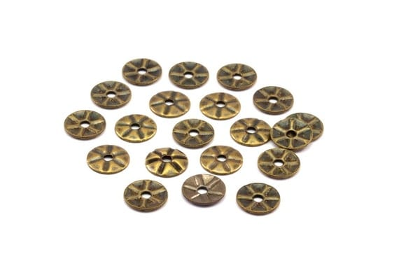 Middle Hole Connector, 100 Antique Brass Round  Middle Hole Connector, Bead Caps, Findings  (6.2mm) Pen 386 K045
