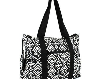 Black and white AZTEC print overnight/weekend tote bag with free monogram.  Zippered Closure.
